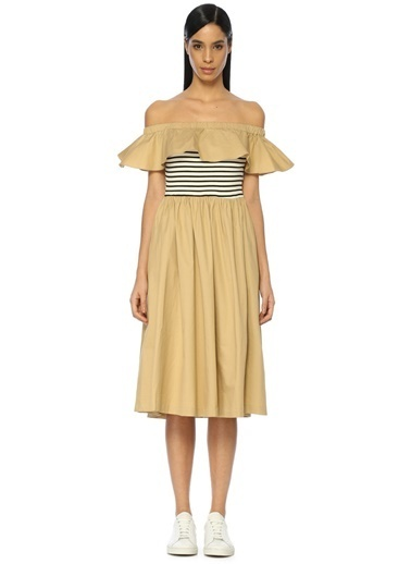 Kayık Yaka Midi Elbise-English Factory